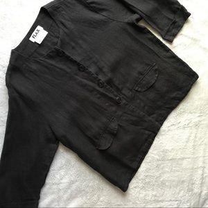 FLAX Linen Black Pocket Jacket Layering Blazer Top